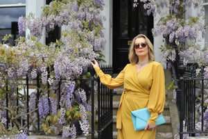 Lisa Lennkh in Mustard Yellow Wrap Tie Waist Maxi Dress
