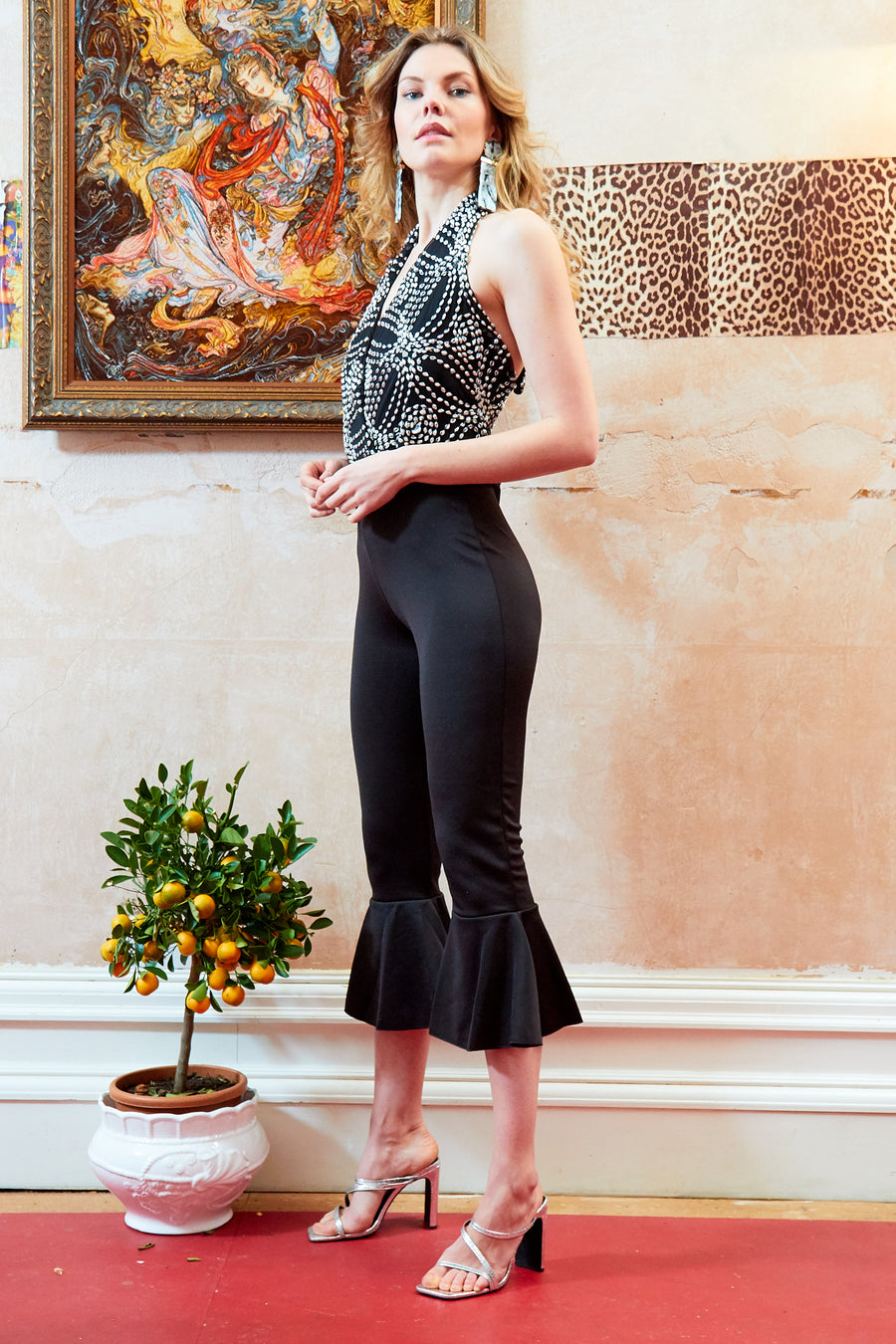 MAIKA - Backless lace embroidered jumpsuit