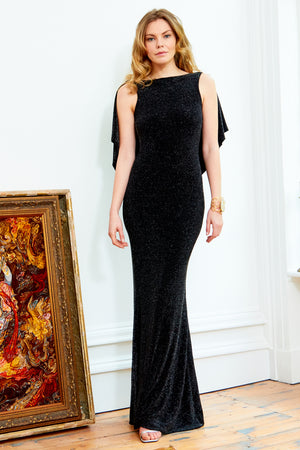MARILYN - Black Shimmery Cowl Back Floor Length Gown