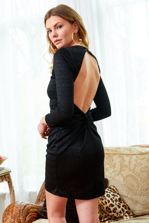 SARVIN ESSENTIALS - MORENA - Long Sleeve Backless Black Lace Dress