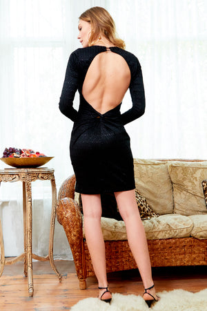 MORENA - Long Sleeve Backless Black Lace Dress