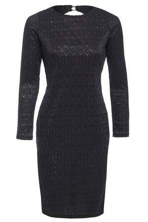 MORENA - Long sleeve backless stone lace dress