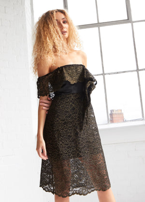 OLIVIA - Embroidered Lace Off Shoulder A-line Dress