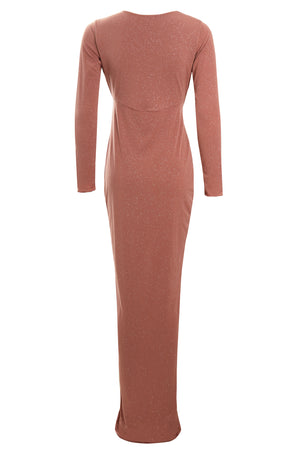 Back view Rose Gold Glittery Plunge Front Knot Floor-Length Dress