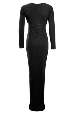 Backview Black Glitter Plunge Front Knot Floor-Length Dress