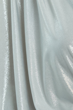 Detail shot of silver slinky jersey blend fabric