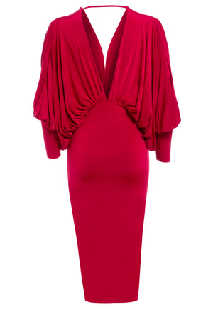LEA - Red plunge front and back batwing midi dress