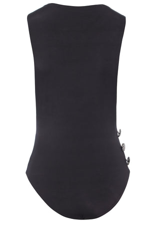 Backview of Drop Armhole Bodysuit with Button Detail