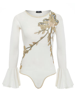 Sarvin OUTLET - Claudia - Embellished Bodysuit with Fluted Sleeves
