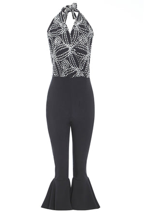MAIKA - Halter neck embroidered jumpsuit with flared trousers