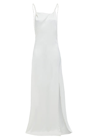 ROSIE - Ivory Twisted Straps Maxi Slip Dress with Side Slit