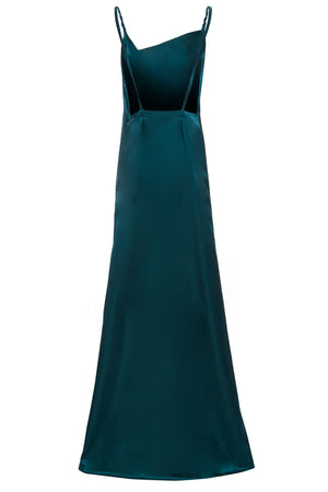 ROSIE - Emerald Twist strap emerald satin slip maxi dress with thigh split