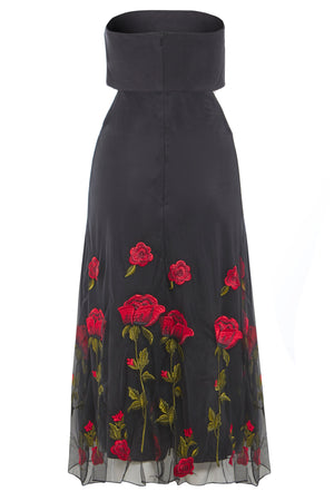 GWYNETH - Black Embroidered Cut-Out Bandeau Midi Dress