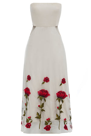 Sarvin OUTLET - Gwyneth  - Ivory Embroidered Cut-Out Bandeau Midi Dress