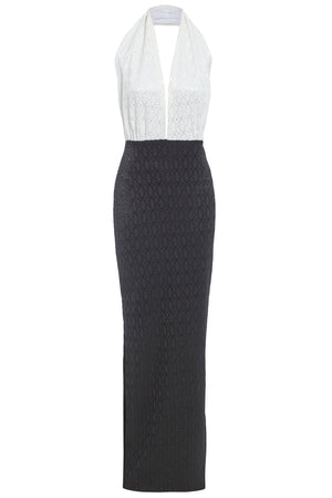Sarvin ESSENTIALS - Dakota - Halter Neck Backless Monochrome Lace Dress
