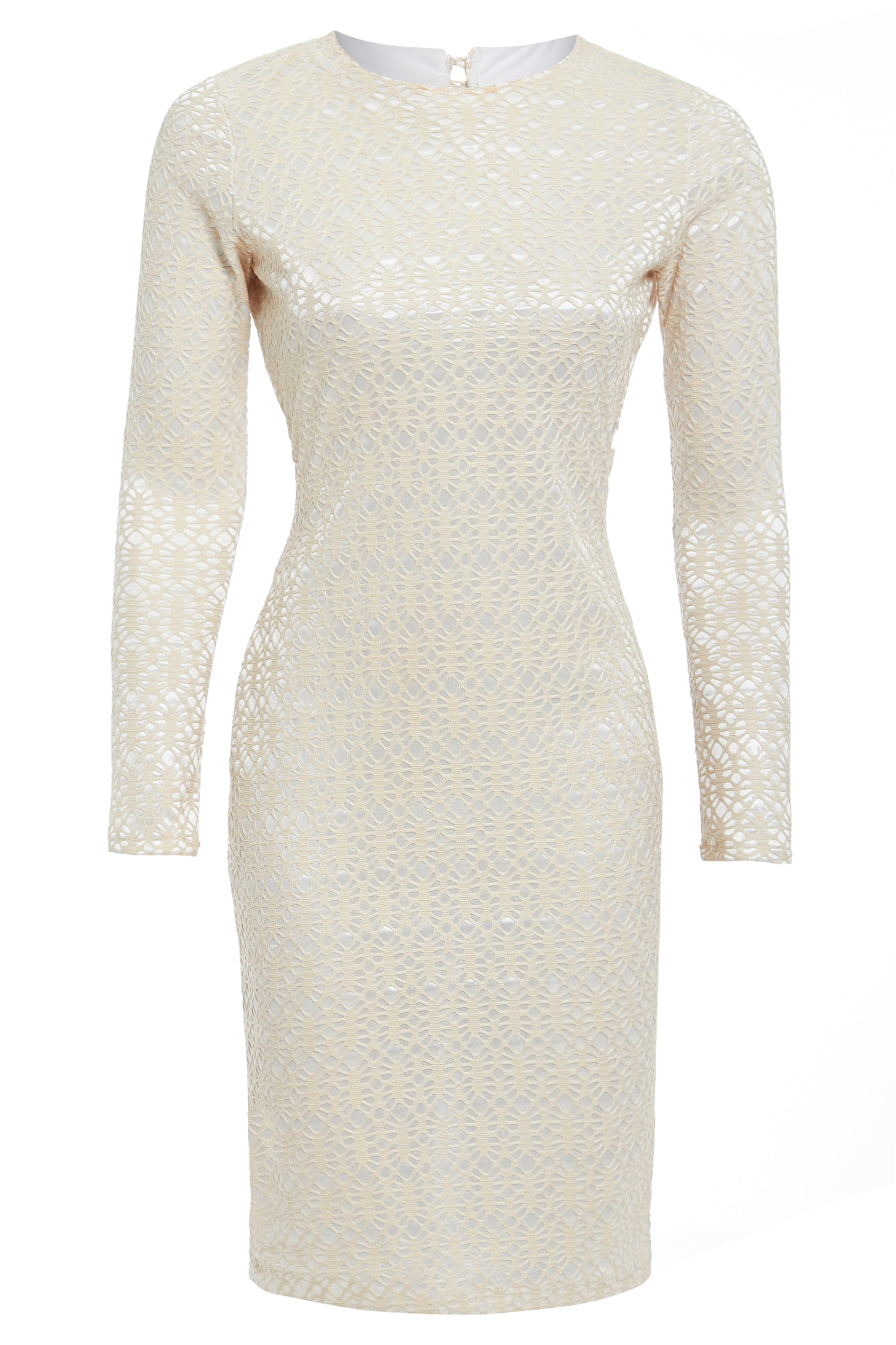 SARVIN ESSENTIALS - MORENA - Long Sleeve Backless Stone Lace Dress