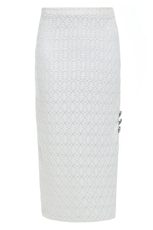 CIARA - Lace bodycon midi skirt with buttons