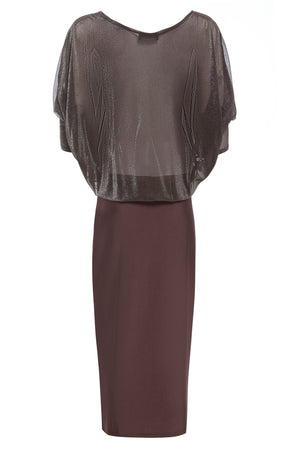 Sarvin OUTLET - Erin - Bodycon Midi Dress with Sheer Metallic Top