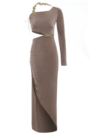 KESHA - Embellished cut out one shoulder maxi dress