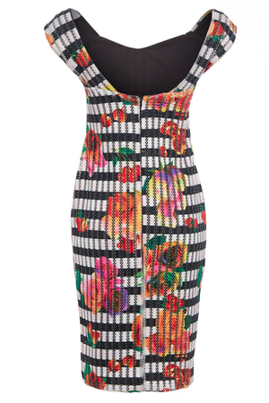 LINDA - Off shoulder stripe and floral print bodycon dress