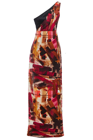 Back view Asymmetric Side Slit Abstract Print Maxi Dress