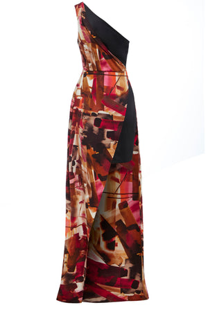 CLARET - One shoulder side split print dress