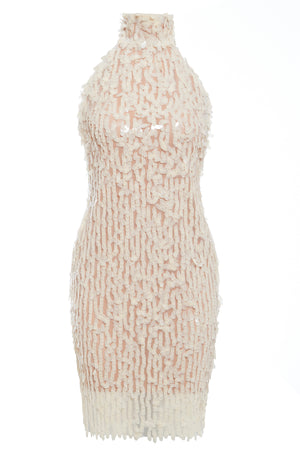 LUCILLE - High neck backless sequin mini dress