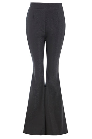 COBIE - High waisted flared black shimmery trousers