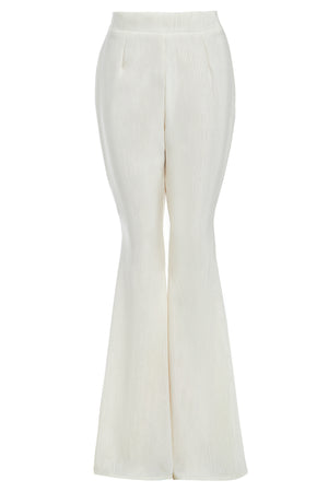 CALLIE - High waisted flared ivory trousers