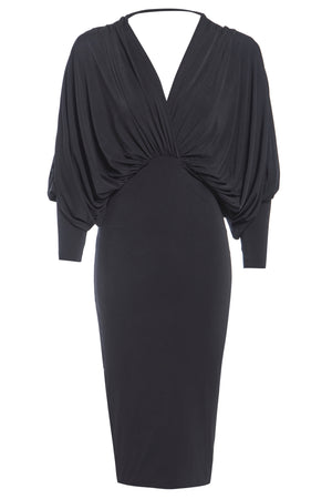 LEA - Plunge Front and Back Batwing Midi Dress