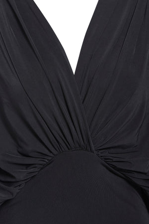 LEA - Black plunge front and back batwing midi dress