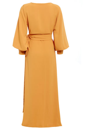 Back view Mustard yellow wrap tie waist maxi dress with balloon sleeves and plunging neckline
