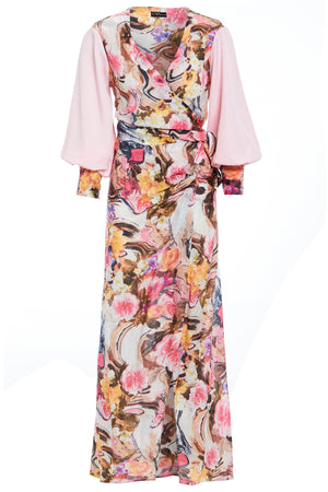 Wrap Maxi dress with tie waist in floral print, features contrasting pink balloon sleeves and plunging neckline