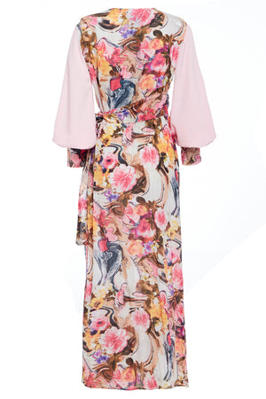 Back view Wrap Maxi dress with tie waist in floral print, features contrasting pink balloon sleeves