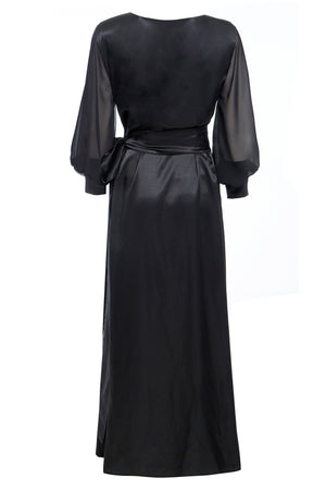 AMBER - Black  V-Neck Wrap Maxi Dress with Side Slit