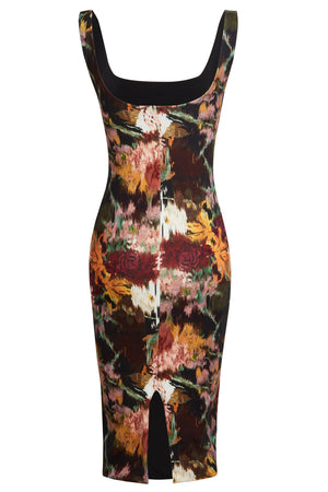 SOPHIA - Floral scoop neckline stretchy midi dress