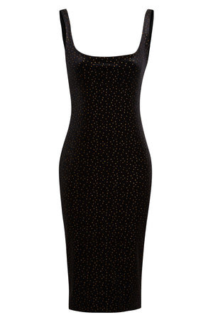 SIMA - Polka dot scoop neckline stretchy midi dress