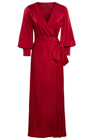 RUBY - Vivid Red Puffed Sleeve Wrap Maxi Dress