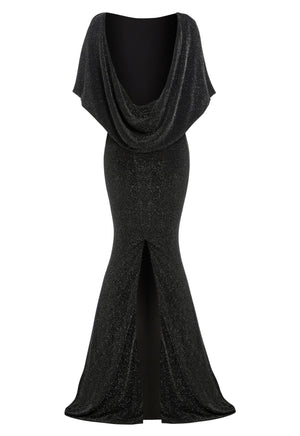 MARYLIN - Cowl back metallic floor length gown