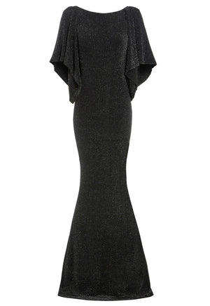 MARILYN - Cowl back metallic floor length gown