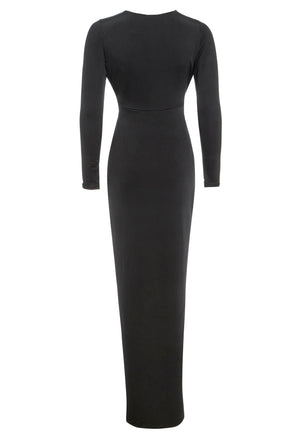 Back view of Black Long Sleeve Front Knot Plunge Maxi Dress