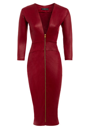 A bodycon burgundy red faux leather midi dress. With a plunging neckline,  1/4 length sleeves and a centre front zip fastening.