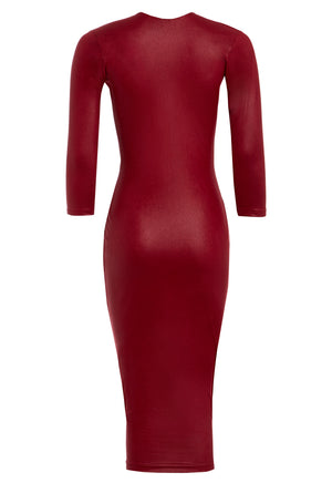A back view of our Alisha burgundy faux leather midi dress with sleeves.