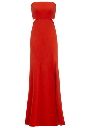 MARGOT - Bandeau cut out maxi dress with train