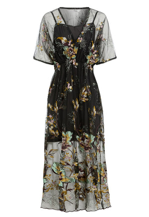 NATALIE - Floral Embellished Flutter Sleeve Midi Dress