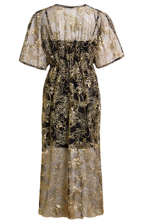 AGATE - Golden Floral Embellished Flutter Sleeve Midi Dress