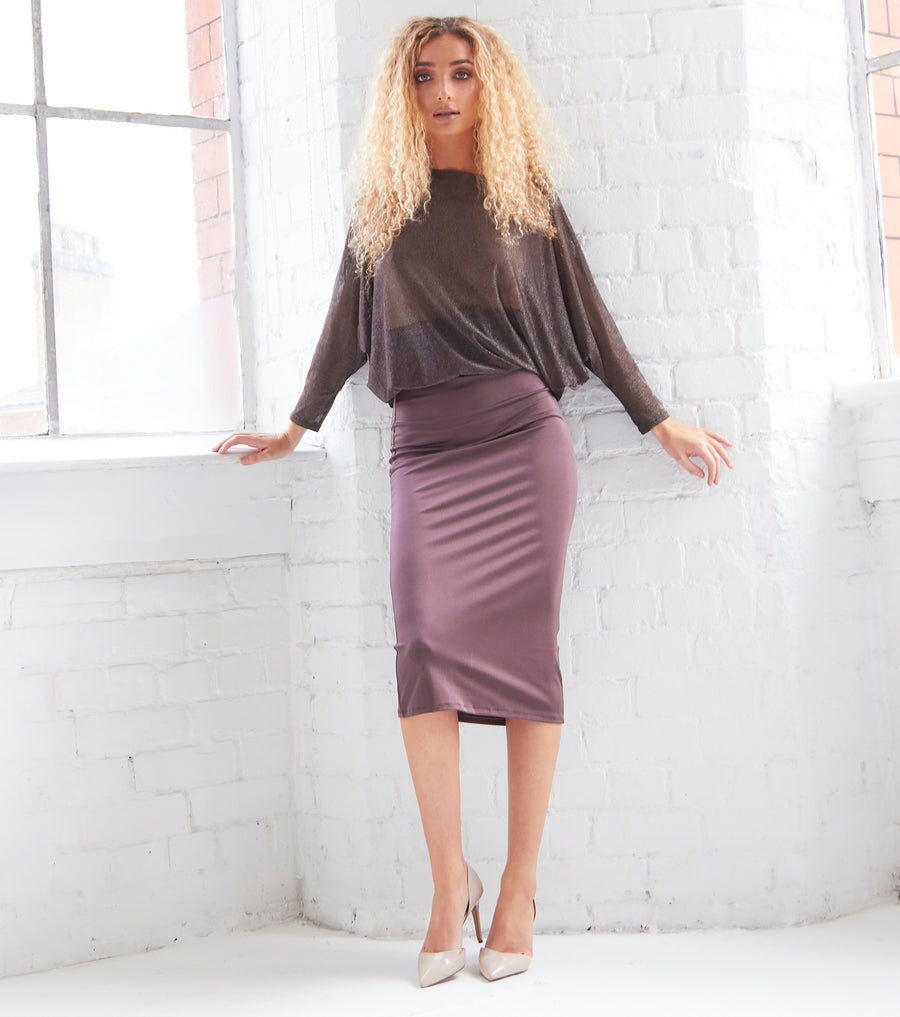 ERIN - Bodycon Midi Dress with Sheer Metallic Top