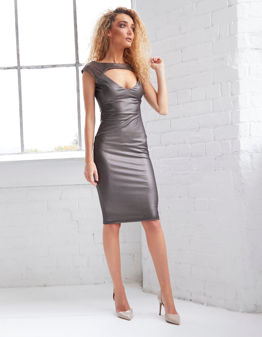 LYDIA - Metallic Leatherette Cut-Out Bodycon Midi Dress
