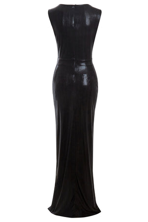 Moss- Black Metallic Cut-Out Bodycon Maxi Dress