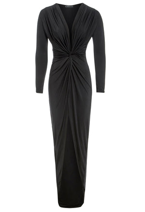 BIANCA - Plunge Front Knot Maxi Dress